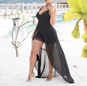 Black romper with sheer shell